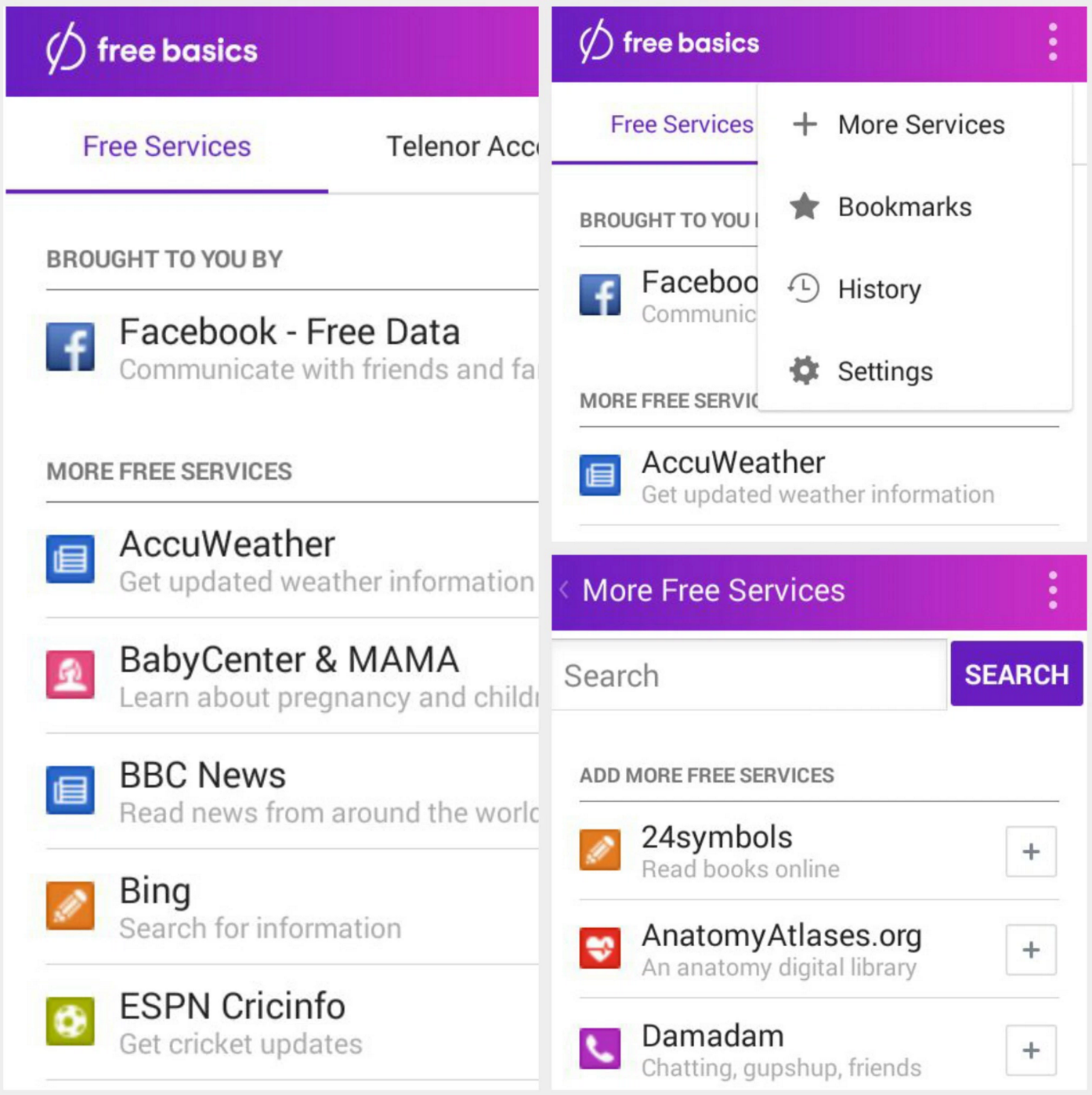 Facebook prominence in Free Basics